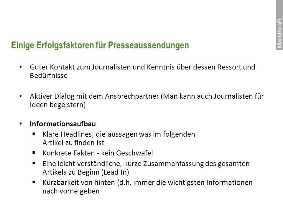 Einige Erfolgsfaktoren für Presseaussendungen