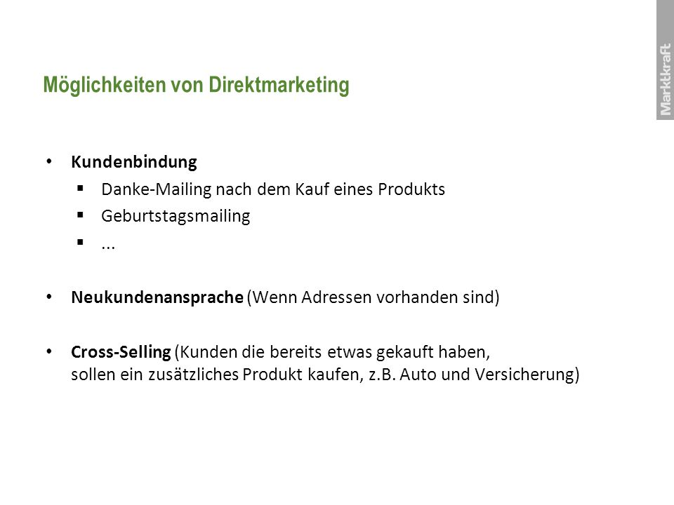 Möglichkeiten von Direktmarketing