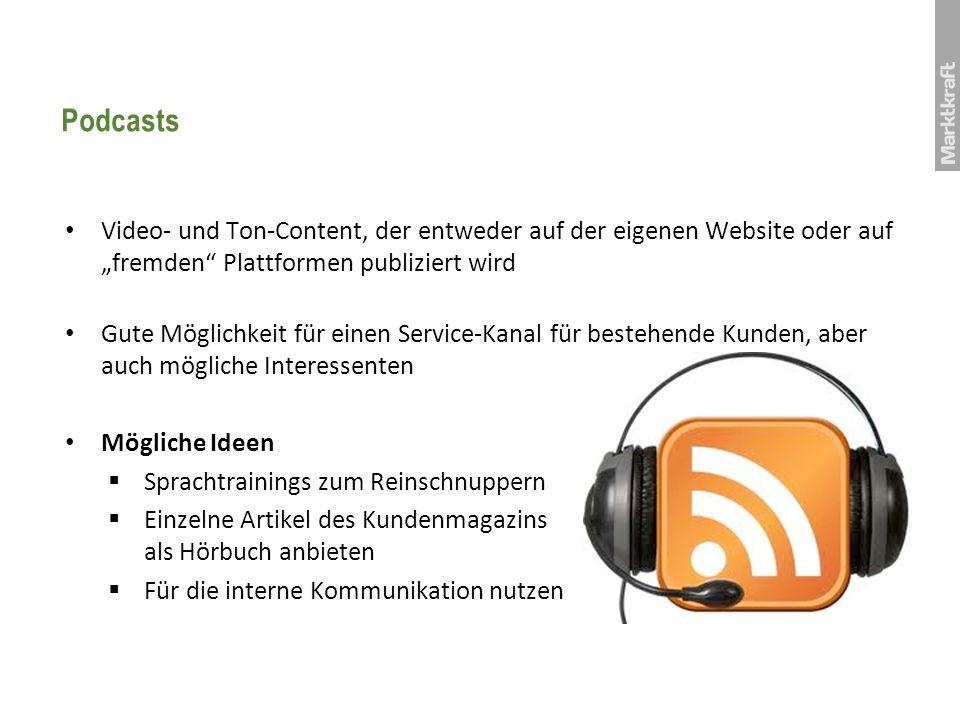 """PodcastsVideo- und Ton-Content, der entweder auf der eigenen Website oder auf """"fremden Plattformen publiziert wird."""