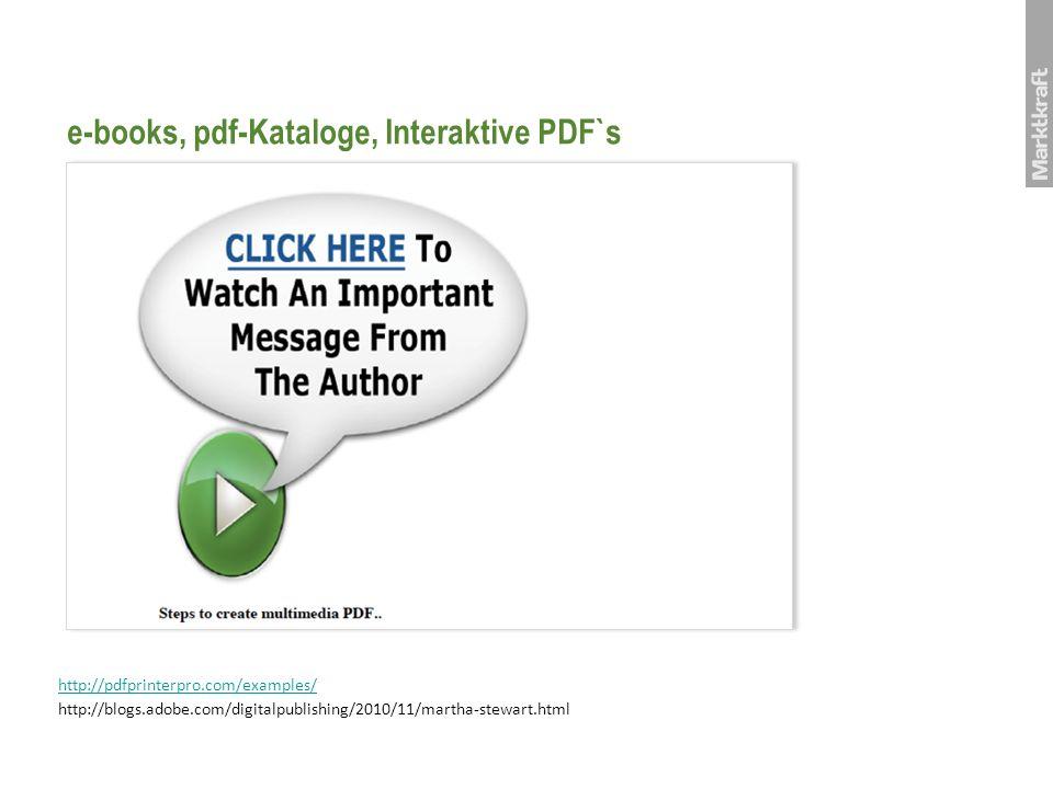 e-books, pdf-Kataloge, Interaktive PDF`s