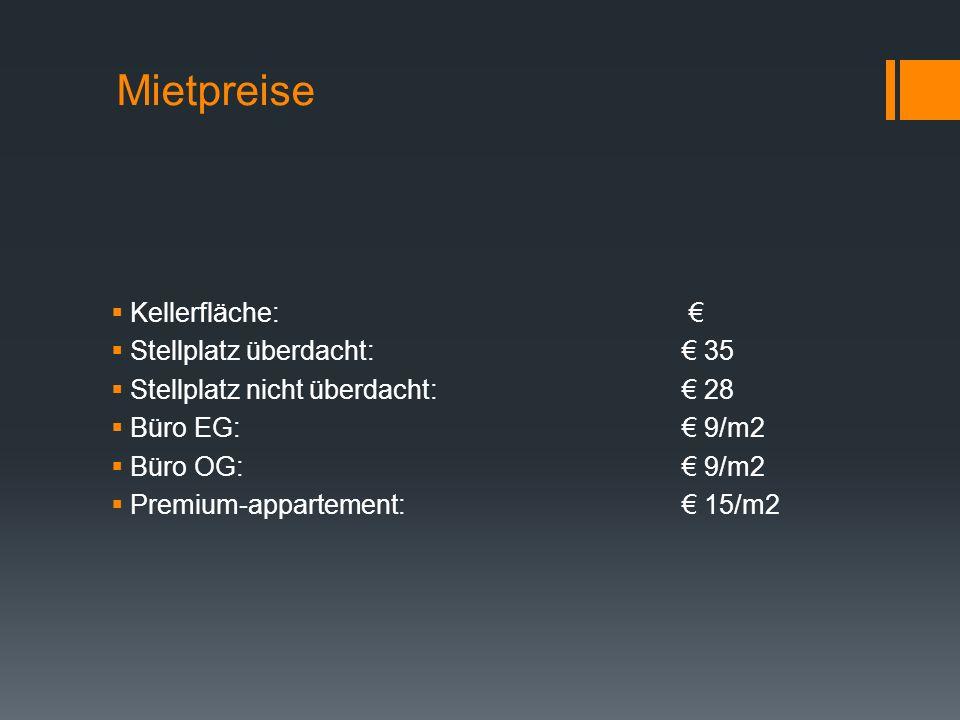 Mietpreise Kellerfläche: € Stellplatz überdacht: € 35