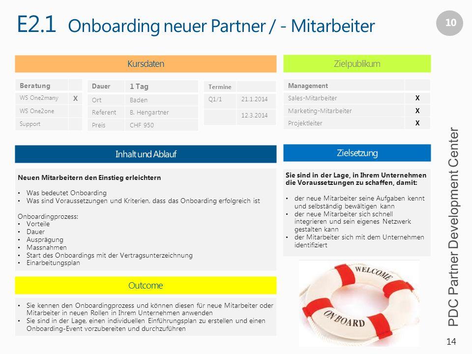 E2.1 Onboarding neuer Partner / - Mitarbeiter