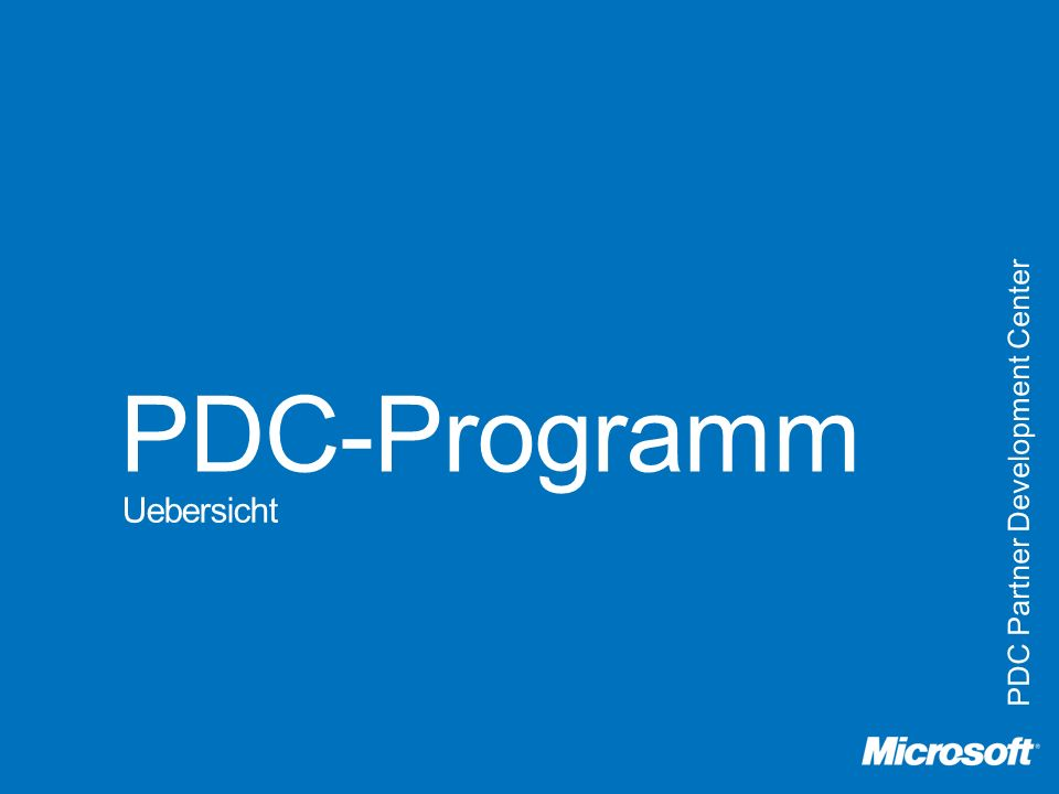 PDC-Programm PDC Partner Development Center Uebersicht