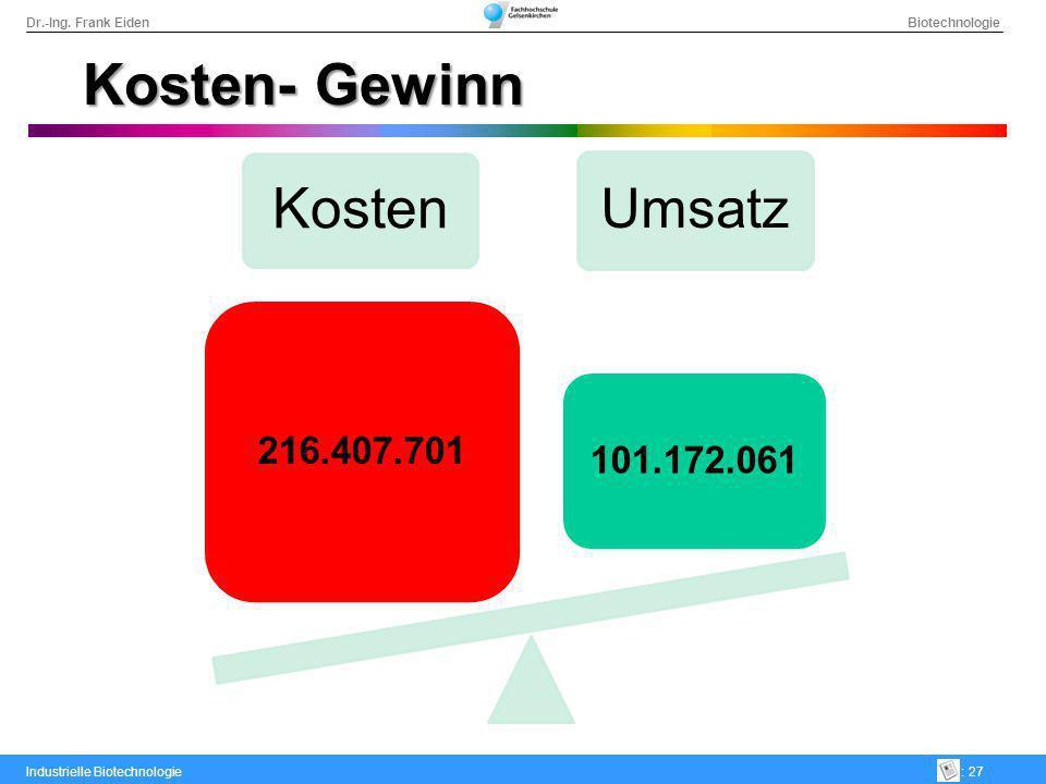 Kosten- Gewinn Kosten 216.407.701 Umsatz 101.172.061