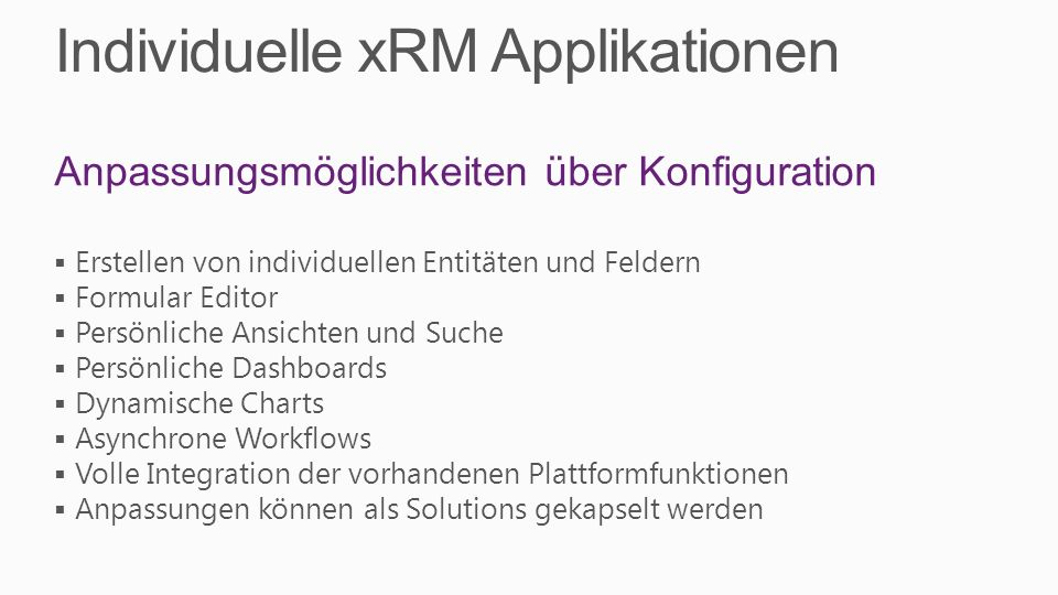 Individuelle xRM Applikationen