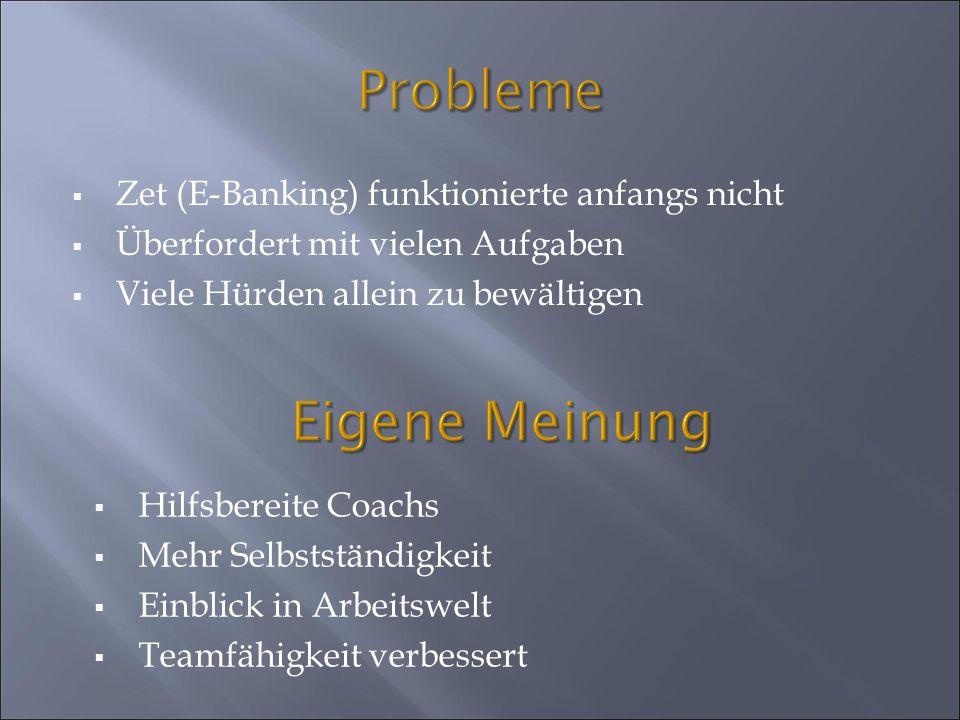 Probleme Zet (E-Banking) funktionierte anfangs nicht