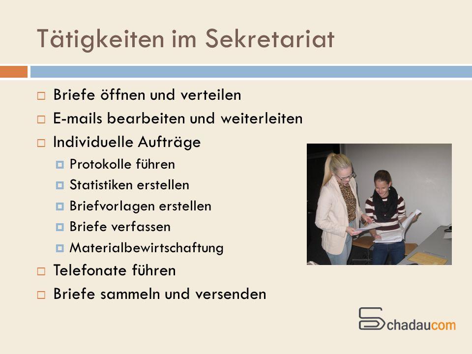 Tätigkeiten im Sekretariat