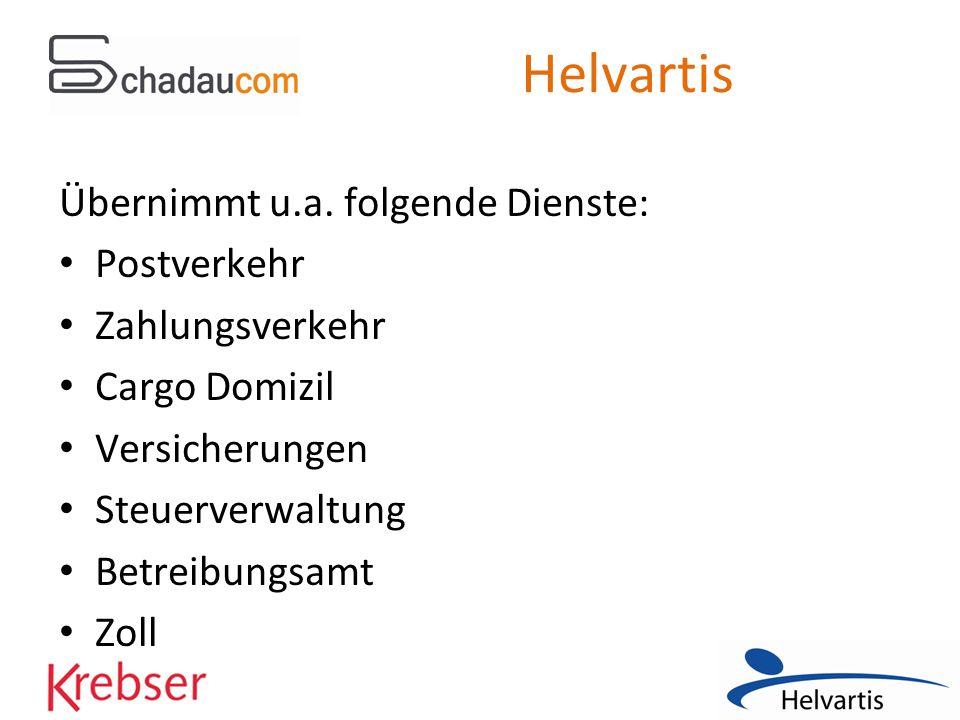 Helvartis Übernimmt u.a. folgende Dienste: Postverkehr Zahlungsverkehr