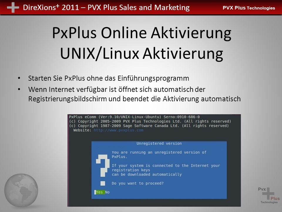 PxPlus Online Aktivierung UNIX/Linux Aktivierung