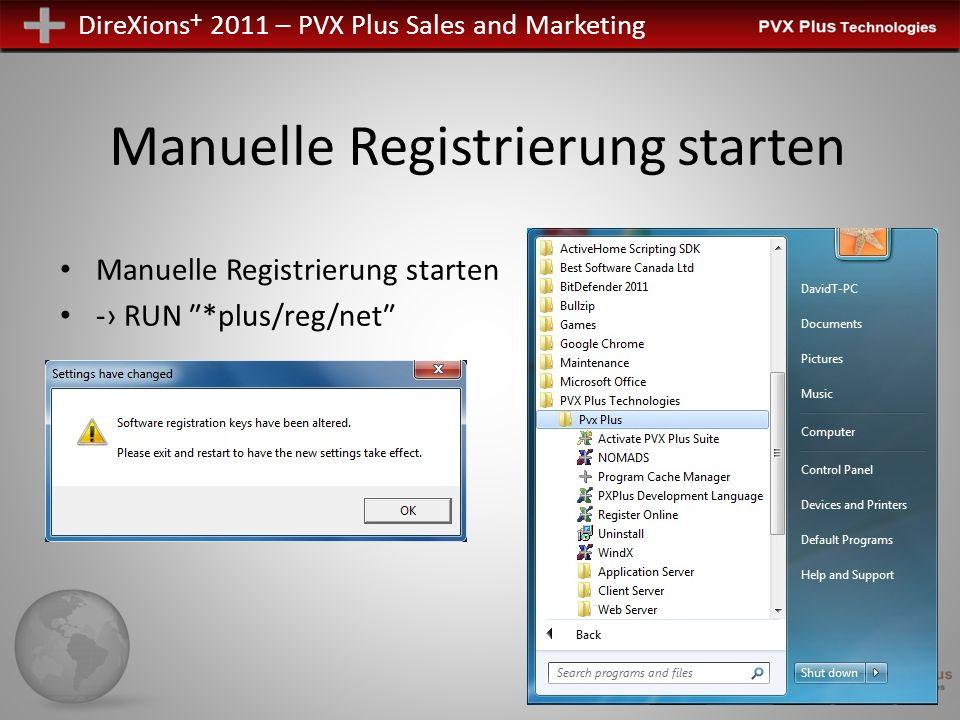 Manuelle Registrierung starten