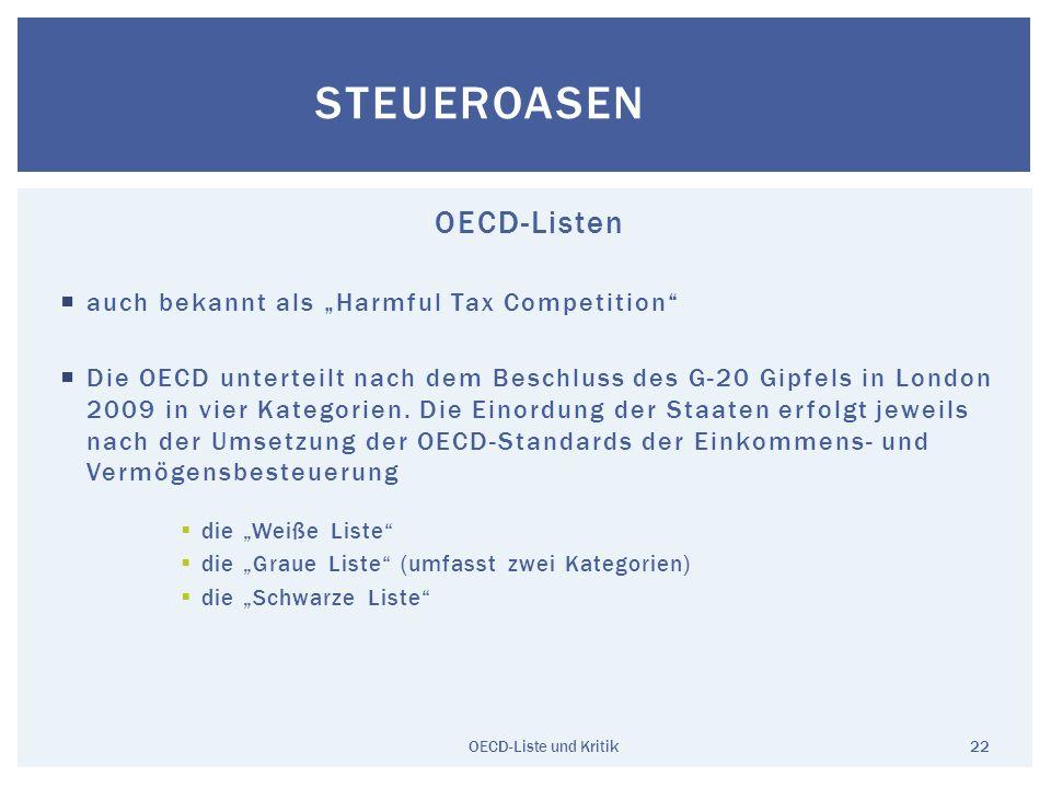 "Steueroasen OECD-Listen auch bekannt als ""Harmful Tax Competition"