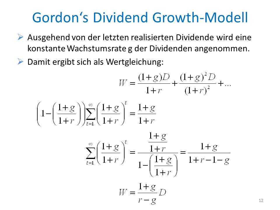 Gordon's Dividend Growth-Modell