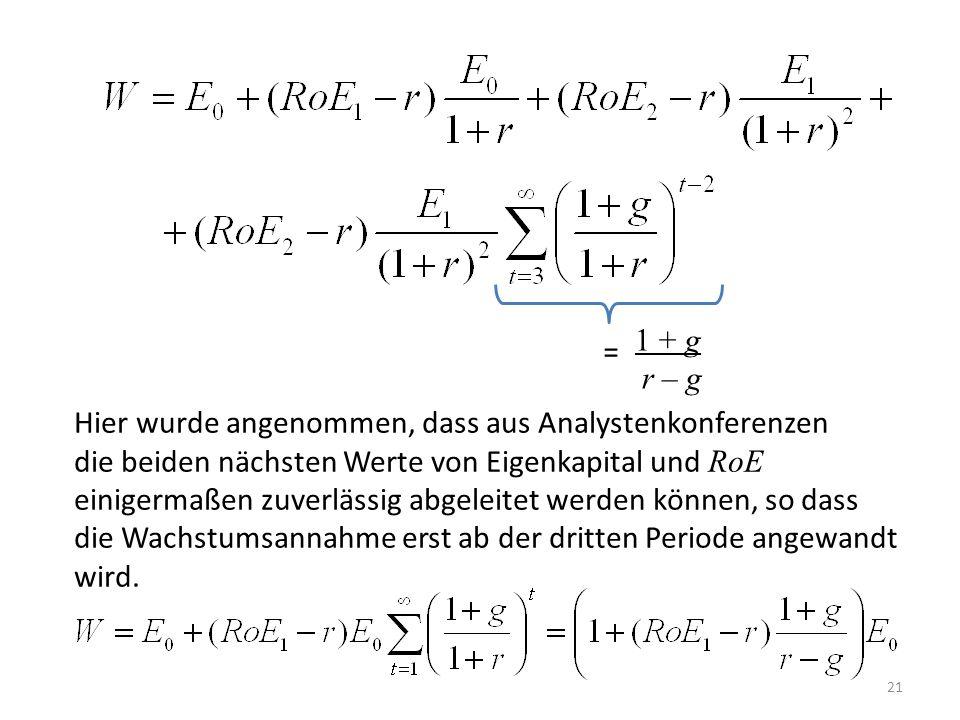 1 + g r – g. = Hier wurde angenommen, dass aus Analystenkonferenzen. die beiden nächsten Werte von Eigenkapital und RoE.
