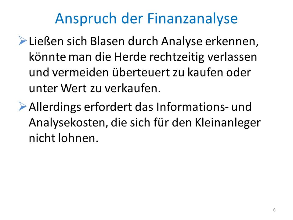 Anspruch der Finanzanalyse