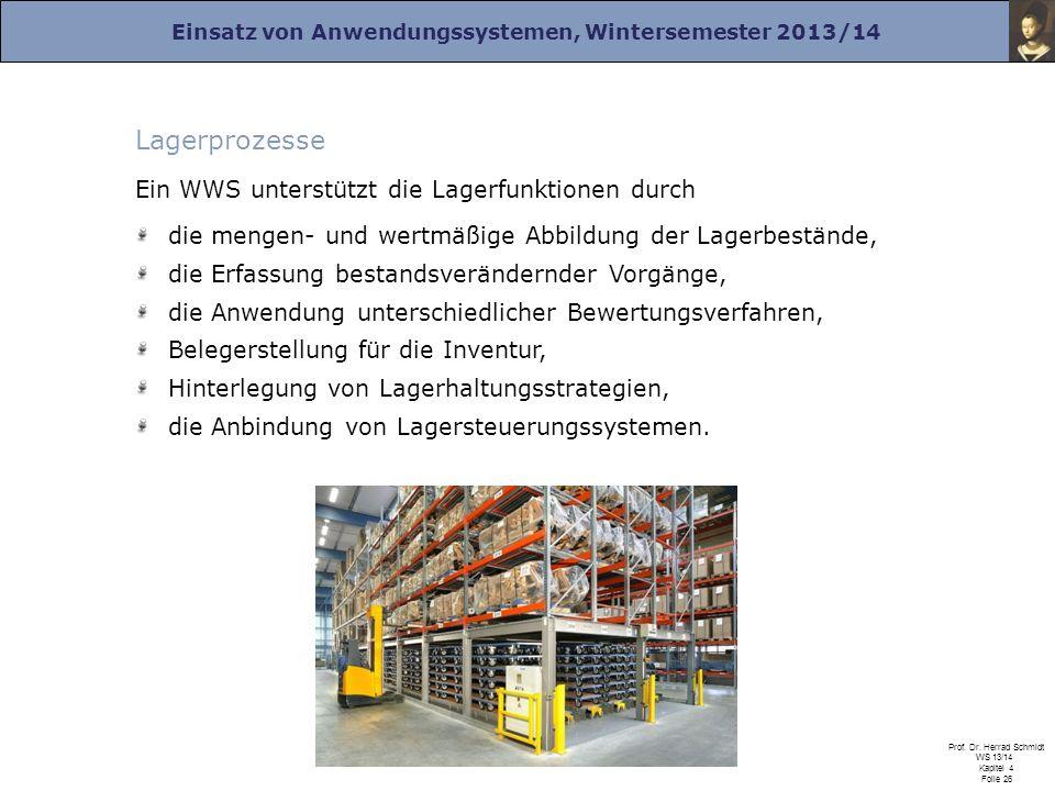 Lagerprozesse Ein WWS unterstützt die Lagerfunktionen durch