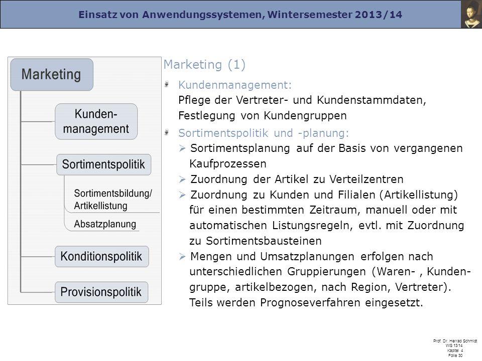 Marketing (1) Kundenmanagement: Pflege der Vertreter- und Kundenstammdaten, Festlegung von Kundengruppen.