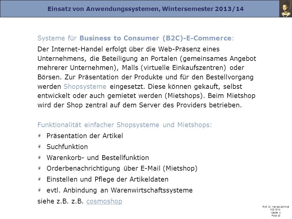 Systeme für Business to Consumer (B2C)-E-Commerce: