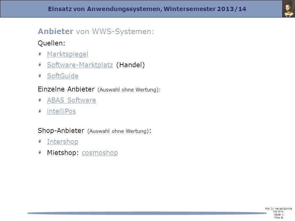 Anbieter von WWS-Systemen: