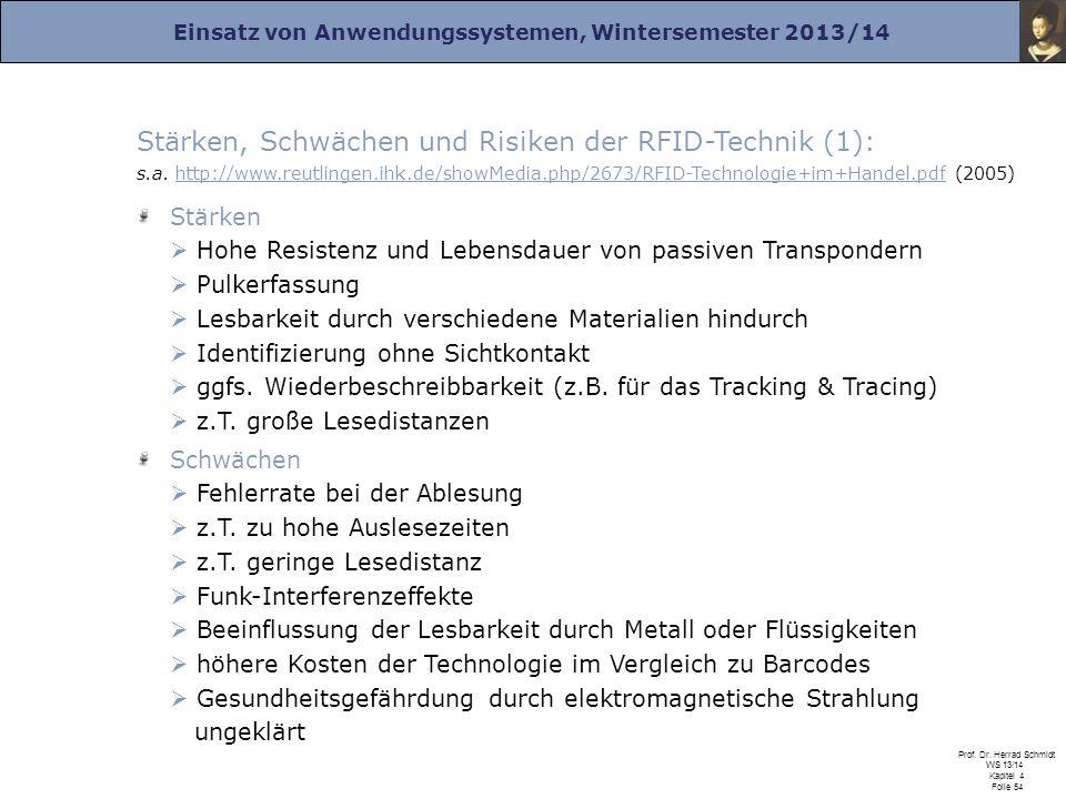 Stärken, Schwächen und Risiken der RFID-Technik (1): s. a. http://www