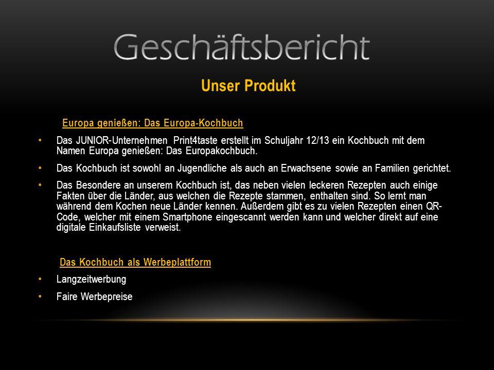 Geschäftsbericht Unser Produkt Europa genießen: Das Europa-Kochbuch