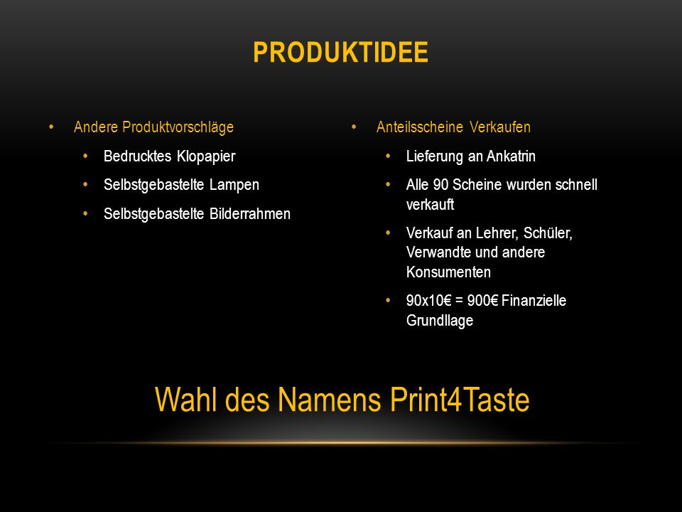 Wahl des Namens Print4Taste