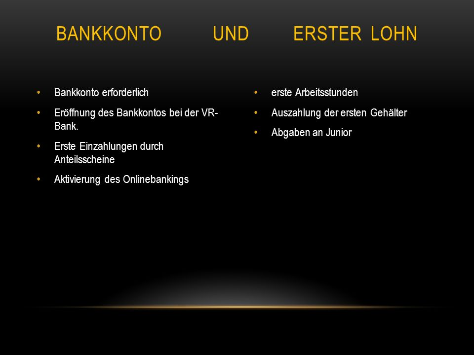 Bankkonto und Erster Lohn