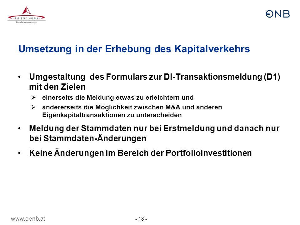 Umsetzung in der Erhebung des Kapitalverkehrs