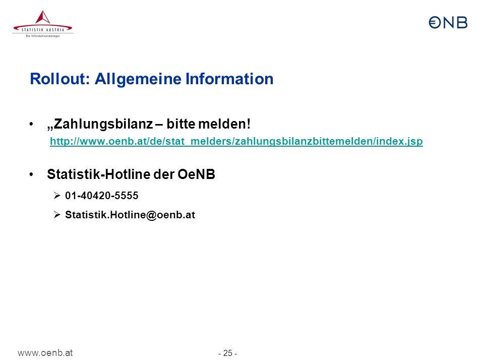 Rollout: Allgemeine Information