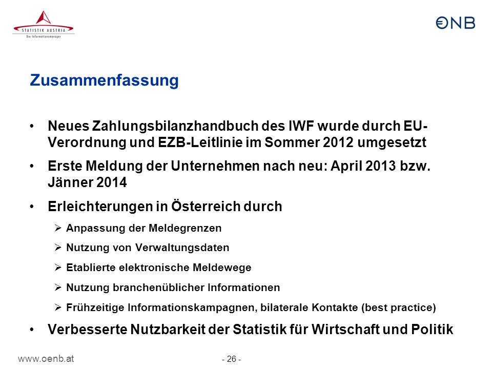 Zusammenfassung Neues Zahlungsbilanzhandbuch des IWF wurde durch EU- Verordnung und EZB-Leitlinie im Sommer 2012 umgesetzt.