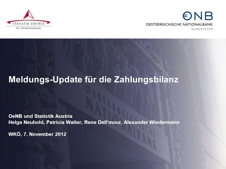 Meldungs-Update für die Zahlungsbilanz OeNB und Statistik Austria Helga Neuhold, Patricia Walter, Rene Dell'mour, Alexander Wiedermann WKÖ, 7.