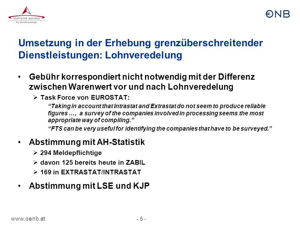 Umsetzung in der Erhebung grenzüberschreitender Dienstleistungen: Lohnveredelung
