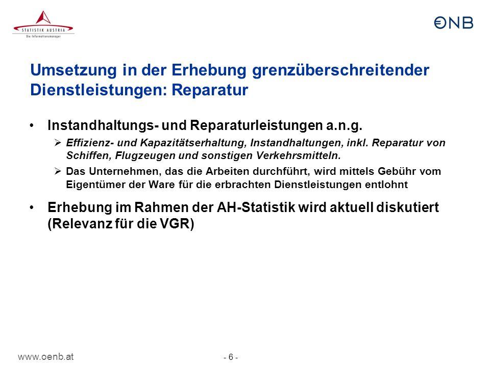 Umsetzung in der Erhebung grenzüberschreitender Dienstleistungen: Reparatur