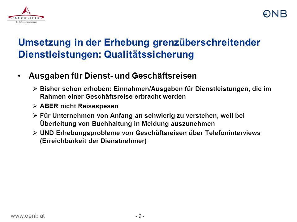 Umsetzung in der Erhebung grenzüberschreitender Dienstleistungen: Qualitätssicherung