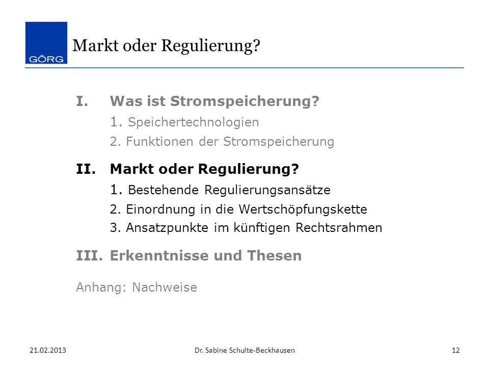 Markt oder Regulierung