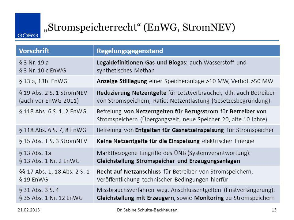 """Stromspeicherrecht (EnWG, StromNEV)"