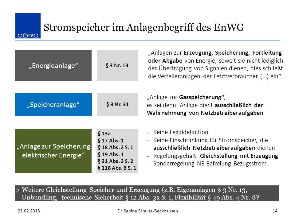 Stromspeicher im Anlagenbegriff des EnWG