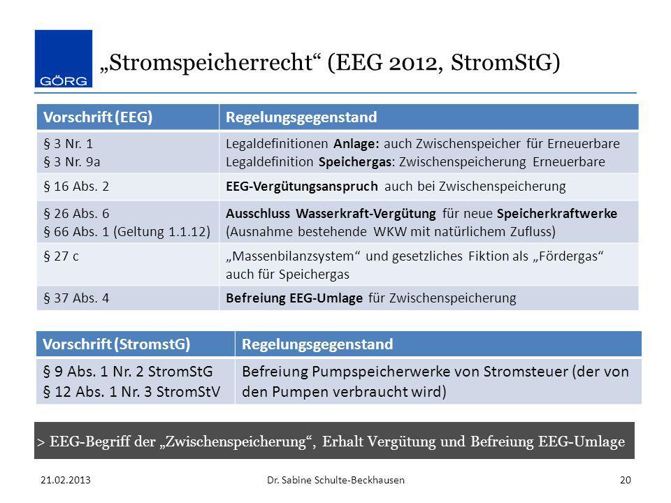 """Stromspeicherrecht (EEG 2012, StromStG)"