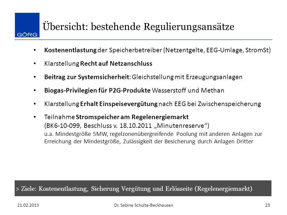 Übersicht: bestehende Regulierungsansätze