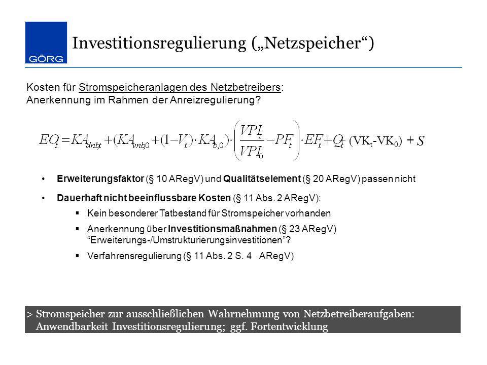 """Investitionsregulierung (""""Netzspeicher )"""