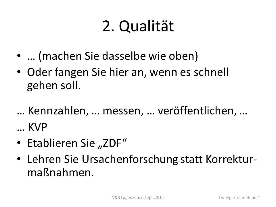 2. Qualität … (machen Sie dasselbe wie oben)