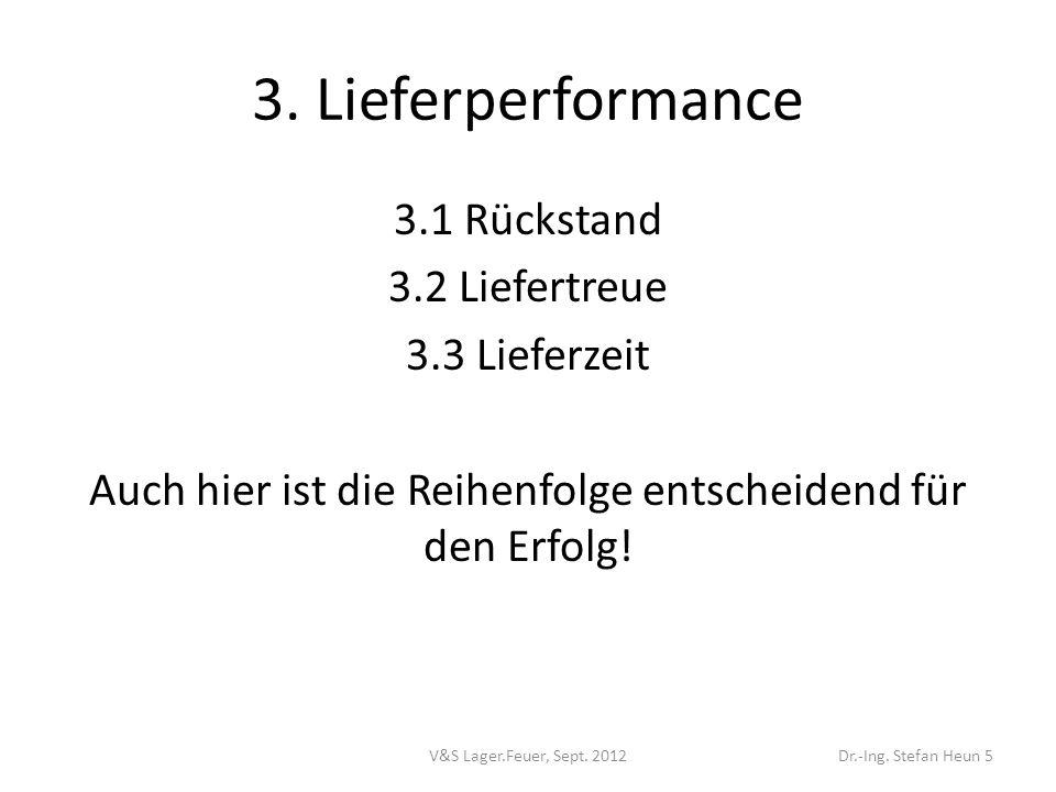 3. Lieferperformance 3.1 Rückstand 3.2 Liefertreue 3.3 Lieferzeit Auch hier ist die Reihenfolge entscheidend für den Erfolg!