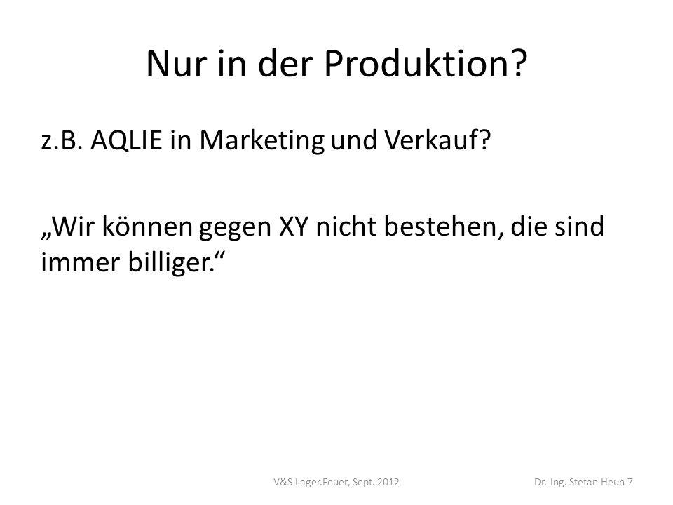 """Nur in der Produktion z.B. AQLIE in Marketing und Verkauf """"Wir können gegen XY nicht bestehen, die sind immer billiger."""