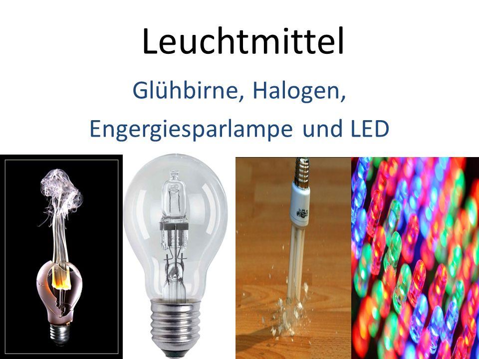 Glühbirne, Halogen, Engergiesparlampe und LED