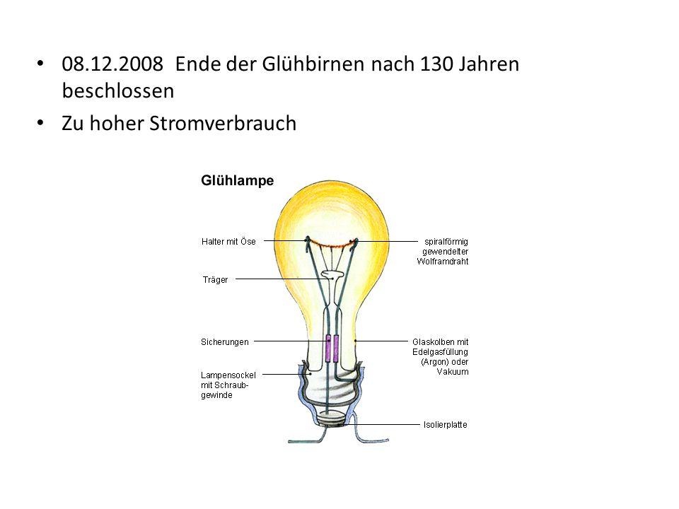 08.12.2008 Ende der Glühbirnen nach 130 Jahren beschlossen