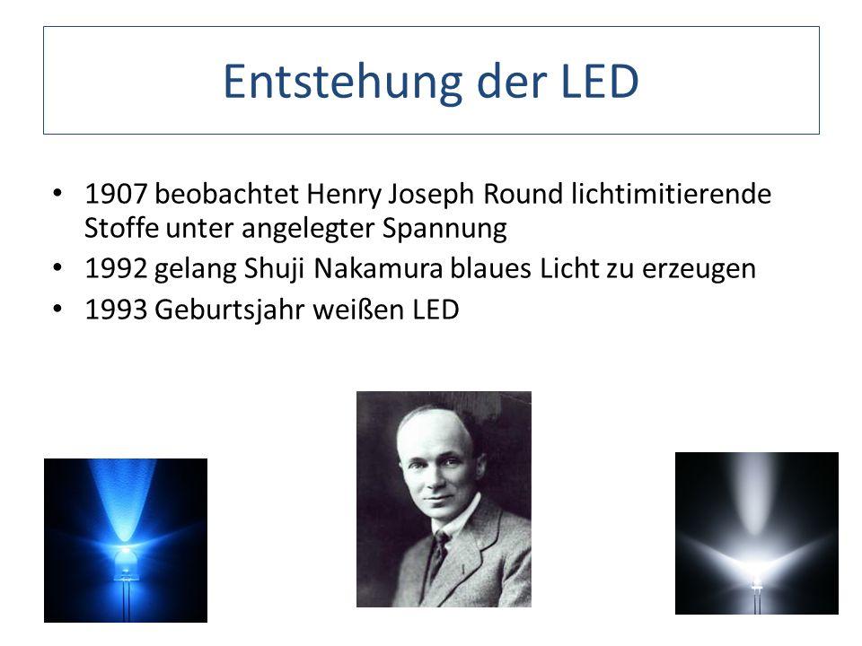 Entstehung der LED 1907 beobachtet Henry Joseph Round lichtimitierende Stoffe unter angelegter Spannung.