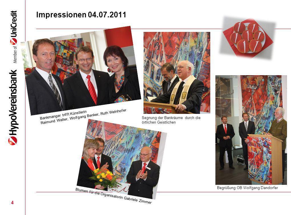 Impressionen 04.07.2011Bankmanger trifft Künstlerin Raimund Walter, Wolfgang Benker, Ruth Welnhofer.