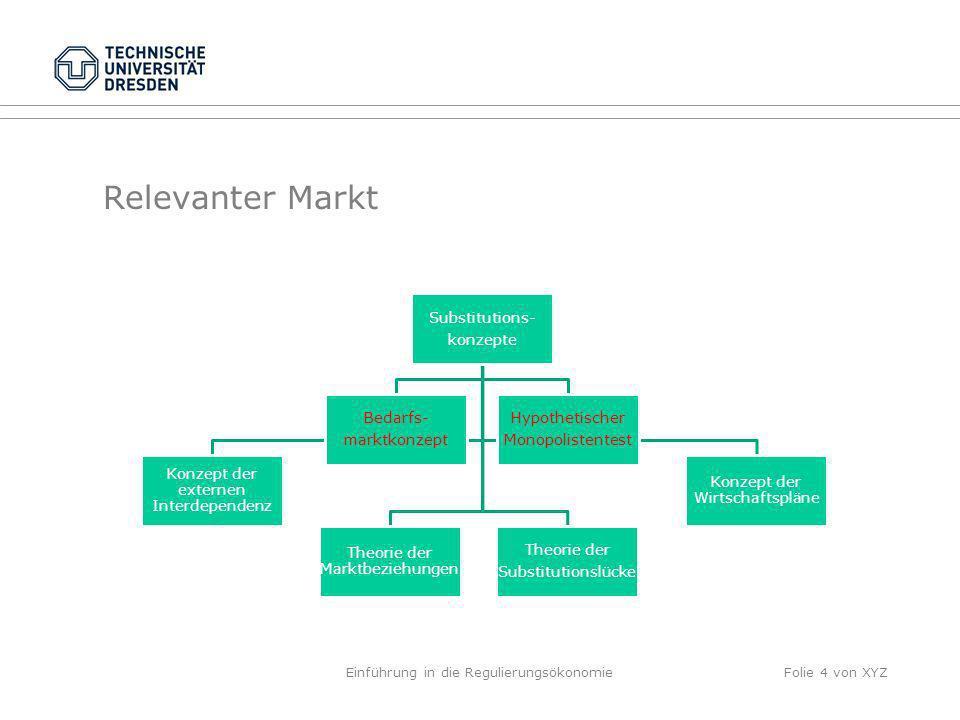 Relevanter Markt Substitutions- konzepte Theorie der