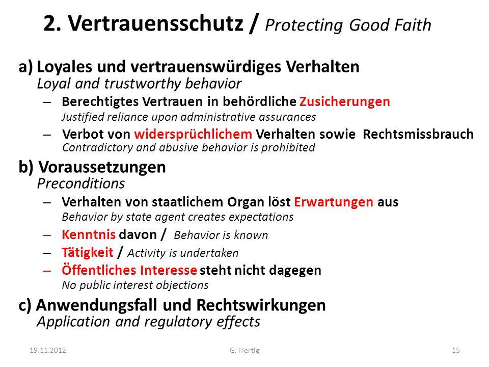2. Vertrauensschutz / Protecting Good Faith