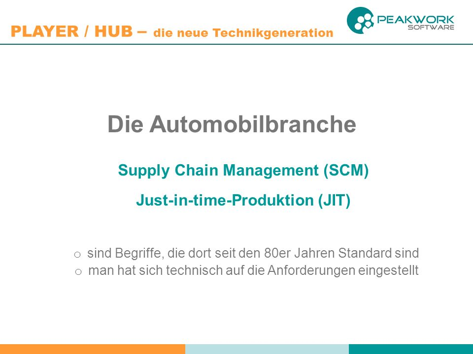Supply Chain Management (SCM) Just-in-time-Produktion (JIT)
