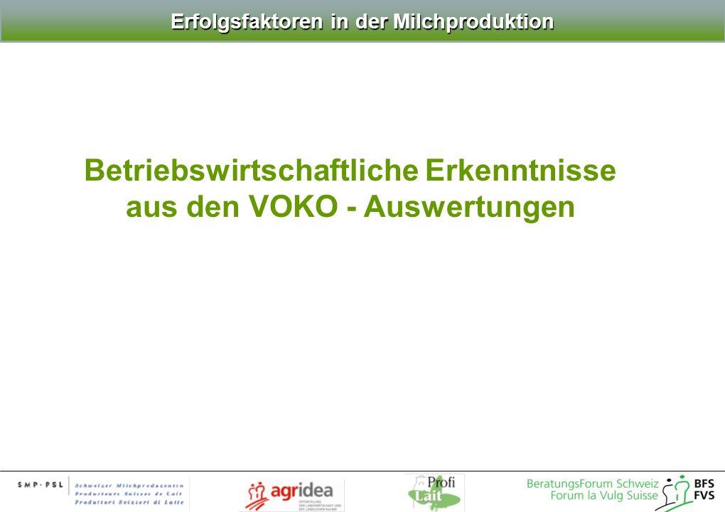 Betriebswirtschaftliche Erkenntnisse aus den VOKO - Auswertungen